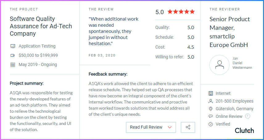 Clutch: customer's review on a1qa